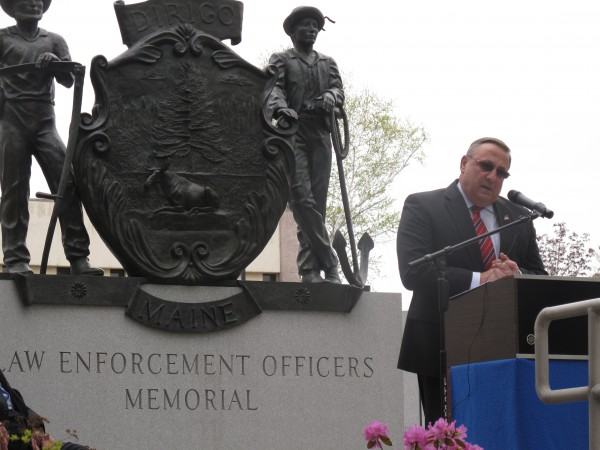 Republican Gov. Paul LePage speaks Thursday at the Law Enforcement Officers Memorial in Augusta, during an annual event to honor uniformed Mainers who died as a result of their service.