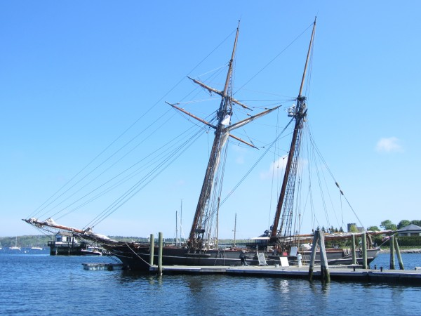 The 129-foot schooner Amistad is docked at Rockland's public landing.