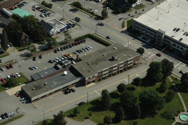 The Bangor Daily News building is seen from the air in 2009.