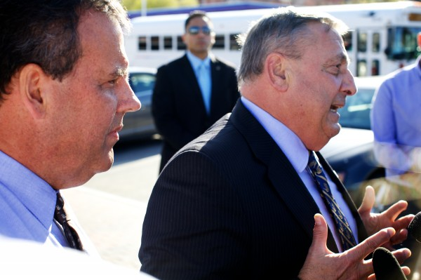 Maine Gov. Paul LePage talks to the press, accompanied by New Jersey Gov. Chris Christie on Wednesday at Becky's Diner in Portland. Christie is chairman of the Republican Governors Association and is in town for a pair of fundraisers.