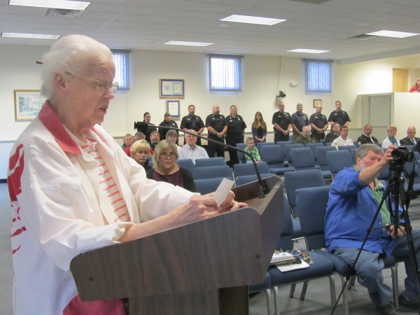 Alice Knight, who has volunteered at the Maine Lobster Festival for 45 years, urged Rockland City Councilors Monday night to waive the fee for use of city property.