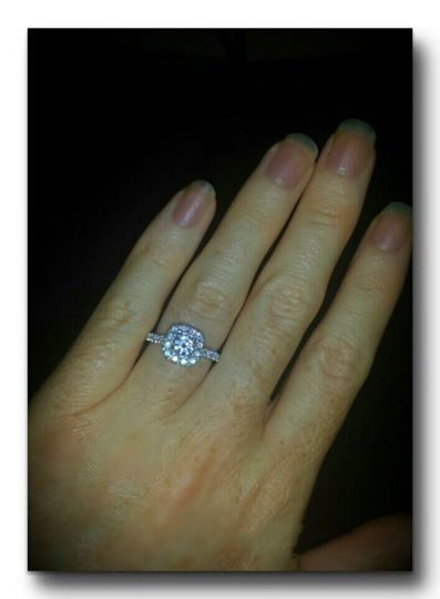 The engagement ring that Adam Robinson presented his girlfriend, Jennie Cates, Thursday night during the Hunter Hayes concert at the Cross Insurance Center in Bangor.