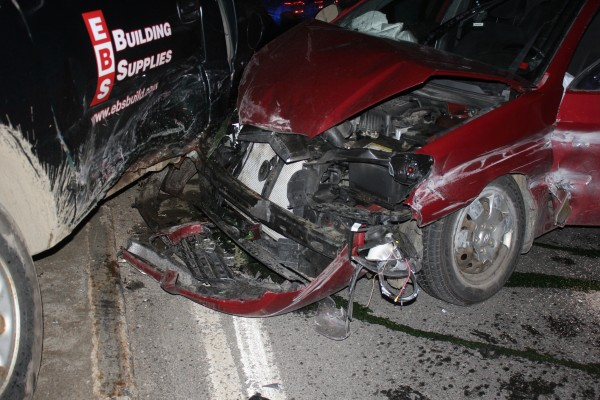 This April 2014 file photo shows the Searsport teen's totaled car after an accident on U.S. Route 1.
