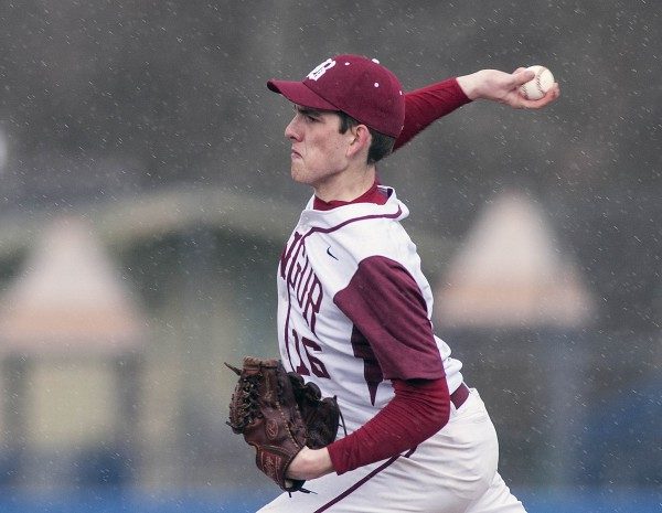 Bangor's Justin Courtney delivers a pitch in the second inning against Brunswick at Mansfield Stadium in Bangor on Friday.