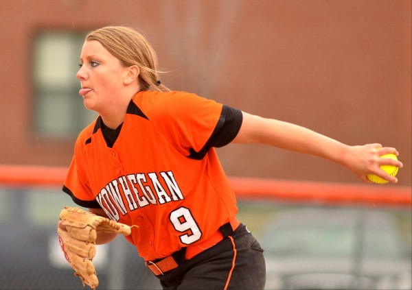 Skowhegan's Taylor Johnson winds up in relief against Brewer on Friday in Skowhegan.