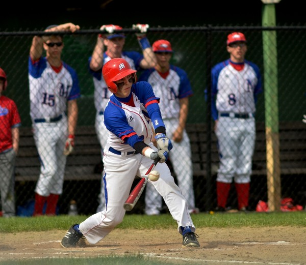 Messalonskee High School's Jared Cunningham drives in a run against Bangor High School on Wednesday in Oakland.