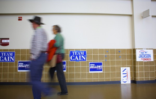 Supporters enter the Cross Insurance Center in Bangor for the start of the Maine Democratic Convention Friday afternoon.