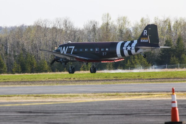 The Whiskey 7, a World War II plane, made Presque Isle and the Northern Maine Regional Airport its first stop Thursday as part of the plane's historic trans-Atlantic flight from New York to Europe as part of a re-enactment of D-Day 70 years later