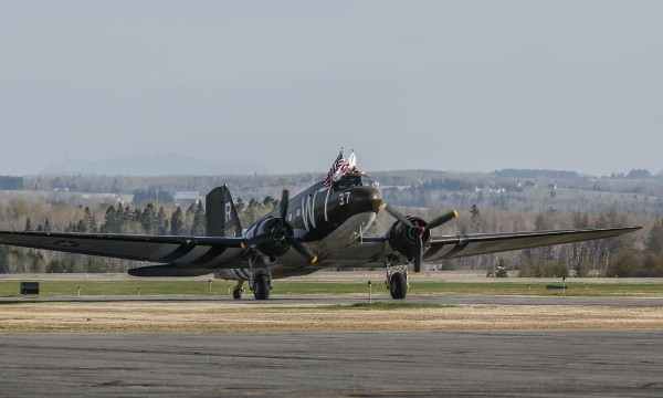 The Whiskey 7, a World War II plane, stops in Presque Isle before continuing its journey to Normandy, France, for the 70th anniversary of D-Day.