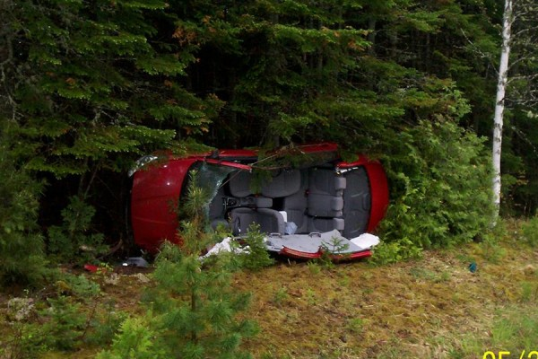 Three Rhode Island residents suffered injuries in a rollover accident in Dyer Brook on Tuesday morning.