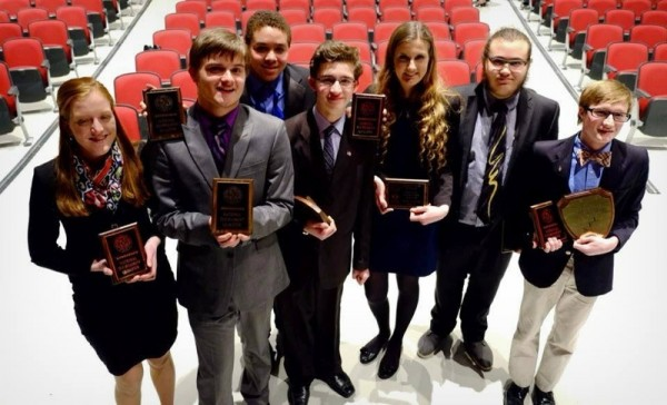 The 2013-14 Bangor High School speech and debate team members who qualified to go to nationals, pictured from left, are junior Kathryn Nagle, seniors Brennan MacDonald and Malik Robinson, sophomores Nick Danby and Elizabeth Robbins, junior Ike Weitman and senior Jan Tompkins.