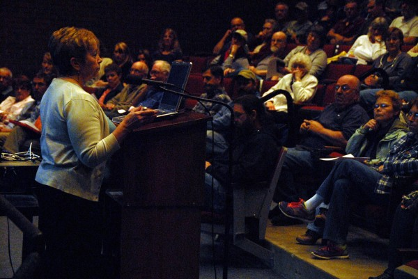 Millinocket Town Manager Peggy Daigle discussed the town's financial woes at a special town meeting at Stearns High School Tuesday.
