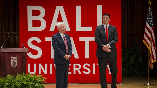 University of Maine President Paul Ferguson is introduced Thursday as the 15th president of Ball State University by Rick Hall, the chair of the school's board of trustees, in Muncie, Indiana.