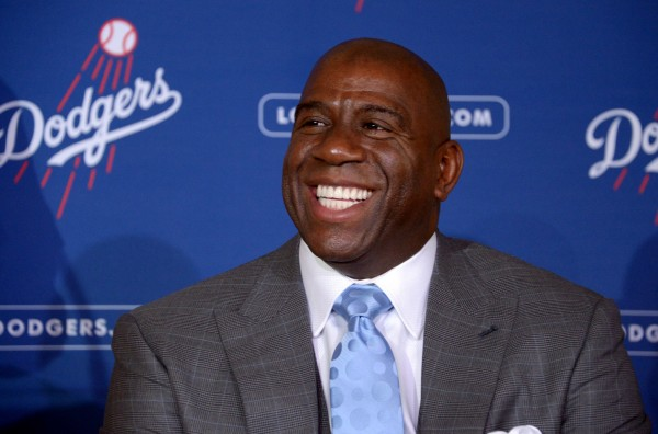 Los Angeles Dodgers co-owner Magic Johnson.