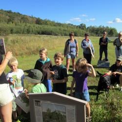 participants enjoy a StoryWalk at Haystack Mountain Trail
