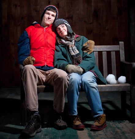 Merriconeag seniors John Burgess & Carlin Tindall in a scene from Almost, Maine