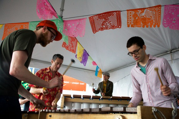 Members of the Maine Marimba Ensemble (from left) Elliot Heeschen, Jacob Wolff, Matt Wasowski and Zebulon Kelley, beat out party music on their Zimbabwe-style marimbas at El Ray Taqueria in Portland on Sunday in honor of Cinco de Mayo. The unofficial holiday marks the victory of the Mexican army over the French at the battle of Puebla in 1862.