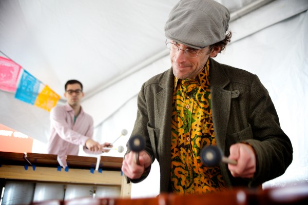Matt Wasowski (right) and Zebulon Kelley beat out song on Zimbabwe-style instruments with the Maine Marimba Ensemble in Portland on Sunday. The group was on hand at El Rayo Taqueria to help celebrate Cinco de Mayo.