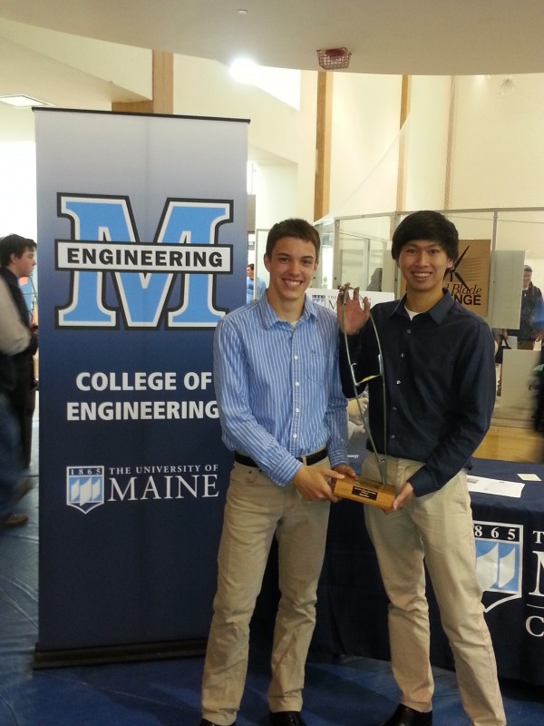 Thornton Academy seniors David Parran (left) and Kent Seneres (right) won 3rd Place out of nearly 40 teams in the Wind Blade Challenge.