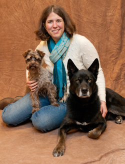 Business partner Christy Cunningham and her dogs Harmon and Olivia. Harmon is a 