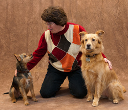 For Dogs Boutique co-owner Diane Cunningham with her dogs William, a Yorkshire Terrier mix, and Gwin, a Golden Retriever-Chow mix.