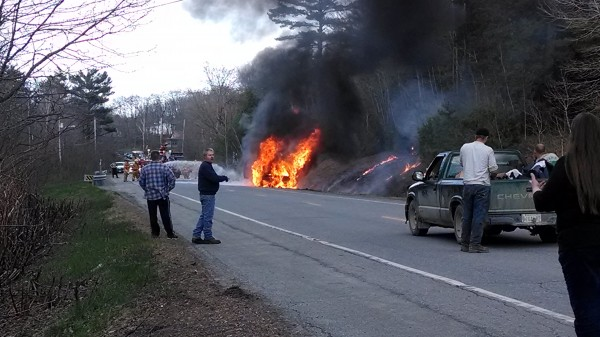 Firefighters extinguish a truck that caught fire in Bradley on Wednesday.
