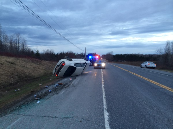A Presque Isle man was injured Sunday morning after falling asleep and crashing his car while driving on Route 1 in Bridgewater.