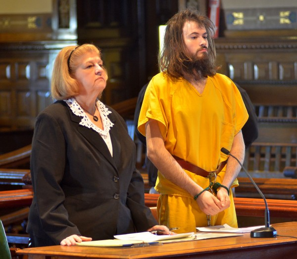 Leroy Herbert Smith III, 24, is shown in Kennebec County Superior Court on Thursday morning where he appeared on a charge that he murdered his father, Leroy Smith Jr.,  in the apartment they shared in Gardiner. He was represented by Waterville attorney Pam Ames.