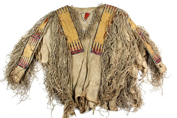 Northern Plains Indian Hidatsa buckskin shirt from the Dakotas with quill and seed bead decoration, one of over 1000 items to be sold at Thomaston Place Auction Galleries Spring 2014 Fine Art & Antiques Auction on May 31 & June 1.