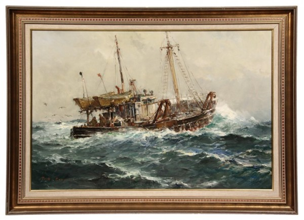 Oil on canvas painting by Jack Lorimer Gray (NY/CAN, 1927-1981) depicting a trawler in heavy seas, one of over 1000 items to be sold at Thomaston Place Auction Galleries on May 31 & June 1