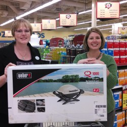 Photo 3 – BFKS event coordinator Dawn DeBois (L) with Penobscot County's Grand Prize Winner, Erin Underwood of the Hannaford, Hampden store.  Underwood won a tabletop Webber grill donated by Dunnett's of Bangor.  Photo 4 - Photo 4 – Kurt Anderson and his Little Brother Joseph, a BBBS Community-Based Match.