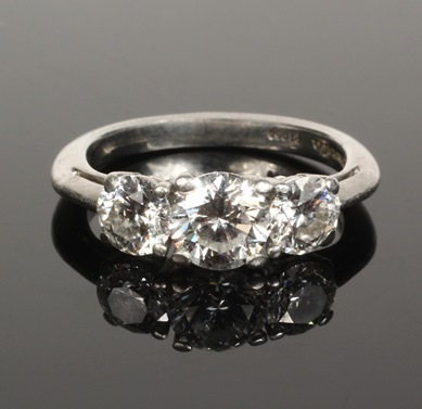 Platinum and 3-stone diamond ring by Tiffany & Co., one of over 1000 items to be sold at Thomaston Place Auction Galleries Spring 2014 Fine Art & Antiques Auction on May 31 & June 1