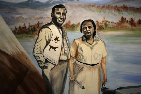 Lucy Nicolar Poolaw, and her husband, Bruce Poolaw, the original proprietors of the teepee, are depicted in the mural. The couple were nationally known theatrical performers.