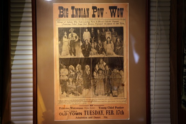 A Bangor Daily News clipping on display in the teepee shows performers who took part in a Indian pageant in 1931.