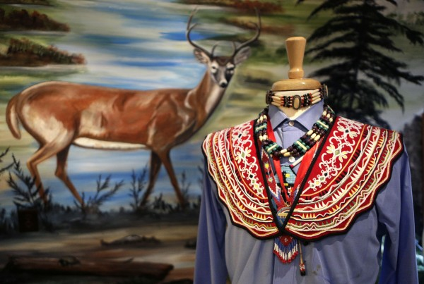 A replica of a beaded ceremonial collar worn by  dignitaries of the Penobscot Nation is on display in Princess Watahwaso's Teepee on Indian Island. The collar was re-created by Jennifer Neptune after being granted permission to examine the original collar at the Smithsonian Institution.