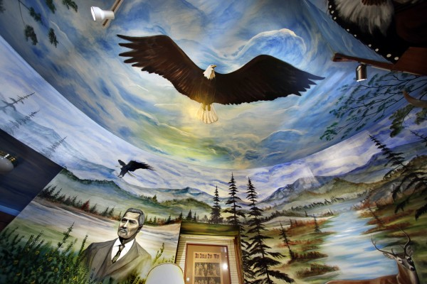 The mural depicts a soaring bald eagle on the ceiling of the first floor of the teepee. Shay's grandfather, Joseph Nicolar, the author of the 1893 book &quotLife and Traditions of the Red Man,&quot is seen at lower left.