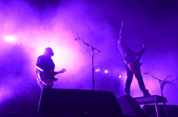 Seether's Shaun Morgan (left) and Dale Stewart perform their alternative metal style in the Rise Above Fest Saturday at the Waterfront Pavilion in Bangor.