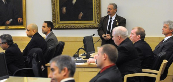 The jury found Randall Daluz (second from left) guilty on three counts of murder and one count of arson at the Penobscot Judicial Center in Bangor Wednesday. Nicholas Sexton (second from right) was found guilty of murder in the death of Nicolle Lugdon and of arson. Jurors deadlocked on whether Sexton was guilty of murder in the deaths of  Daniel Borders and Lucas Tuscano.