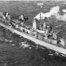 WWII destroyer built in Maine returns home to SC after repairs