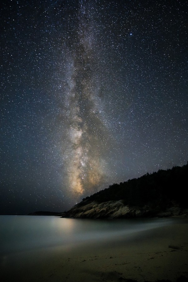 &quotMilky Way Over Sand Beach&quot by Maine photographer