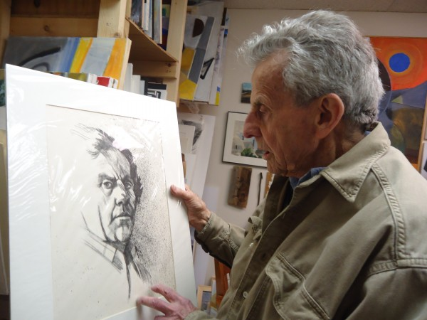 Robert Nason, 90, has been painting for 70 years. His show Nason @ Ninety opens at Running with Scissors in Portland Saturday. Here he examines a self portrait.