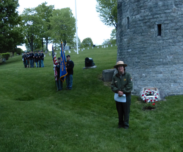 Petersburg Battlefield park ranger Ann Blumenschine addresses the audience at Mt Hope Cemtery