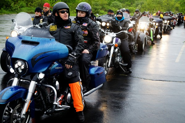 Patriot Guard Riders line up in the Elks Lodge parking lot on outer Congress Street in Portland on Friday morning. Each motorcycle carried a memorial stone, in honor of a fallen Maine service member, bound for Mount Katahdin.