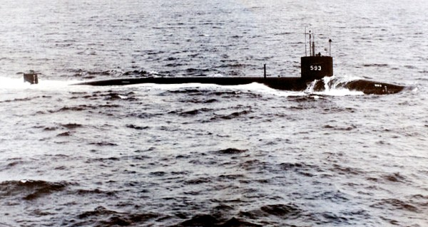 1963: The USS Thresher, a nuclear-powered attack submarine built at the Portsmouth Naval Shipyard, is lost during deep-diving tests