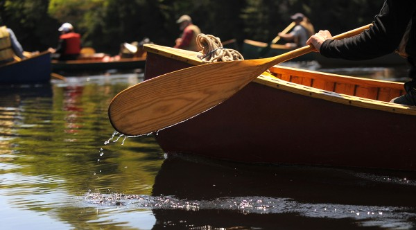 Paddlers make their way south on the Penobscot River Thursday, the 13th day of the Thoreau-Wabanaki 150th Anniversary Tour.