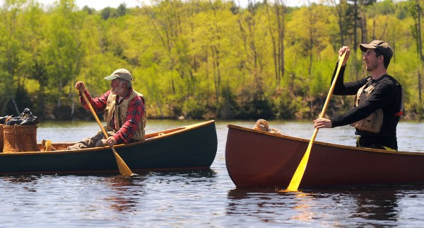Kevin Slater (left) and Yeshe Parks paddle on Penobscot River Thursday.  Slater was the lead guide of the Thoreau-Wabanaki 150th Anniversary Tour that started on Moosehead Lake in Greenville and is following the route Henry David Thoreau took with his guide Joe Polis in 1857.