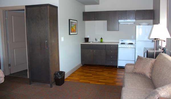Some of the rooms include full kitchens for guests who wish to book extended stays.
