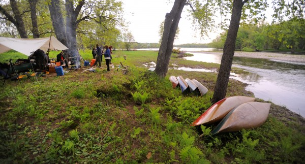 The paddlers of the Thoreau-Wabanaki 150th Anniversary Tour camped on Brown Island in the Penobscot river Thursday, on the 13th day of the expedition.