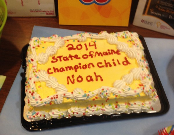 A cake honoring Noah Tibbetts, Children's Miracle Network 2014 State of Maine Champion Child, at his special ceremony.