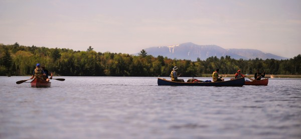Shorly after leaving Medway, paddlers get a glimpse of Mount Katahdin as they make their way south on Penobscot River Thursday, on the 13th day of the Thoreau-Wabanaki 150th Anniversary Tour.